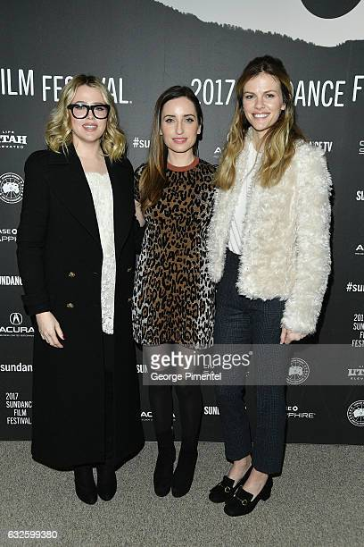 Actress Majandra Delfino director Zoe ListerJones and actress Brooklyn Decker attend the Band Aid Premiere at Eccles Center Theatre on January 24...