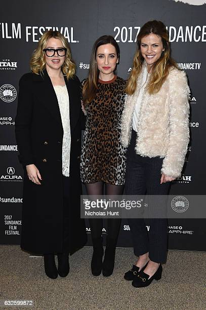 Actress Majandra Delfino director Zoe ListerJones and actress Brooklyn Decker attends the Band Aid Premiere at Eccles Center Theatre on January 24...
