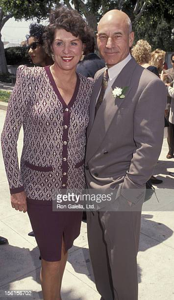 Actress Majel BarrettRoddenberry and actor Patrick Stewart attend Marina SirtisMichael Lamper Wedding Ceremony on June 21 1992 at St Sophia Cathedral...