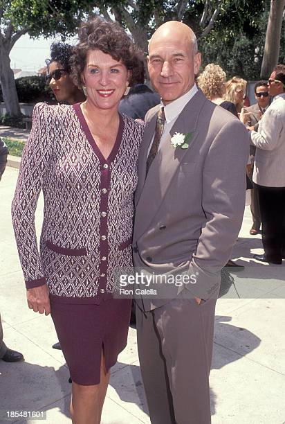 Actress Majel Barrett-Roddenberry and actor Patrick Stewart attend the Wedding of Marina Sirtis and Michael Lamper on June 21, 1992 at St. Sophia...