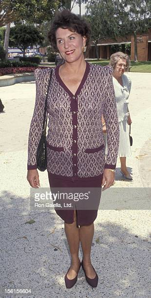 Actress Majel BarrettRoddenberry attends Marina SirtisMichael Lamper Wedding Ceremony on June 21 1992 at St Sophia Cathedral in Los Angeles California