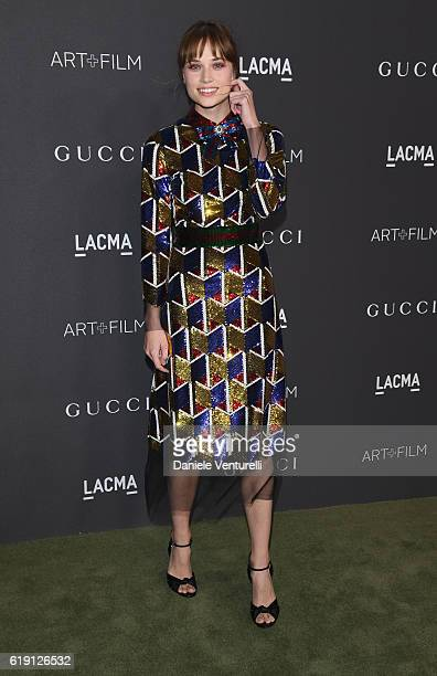 Actress Makenzie Leigh wearing Gucci attends the 2016 LACMA Art Film Gala Honoring Robert Irwin and Kathryn Bigelow Presented By Gucci at LACMA on...