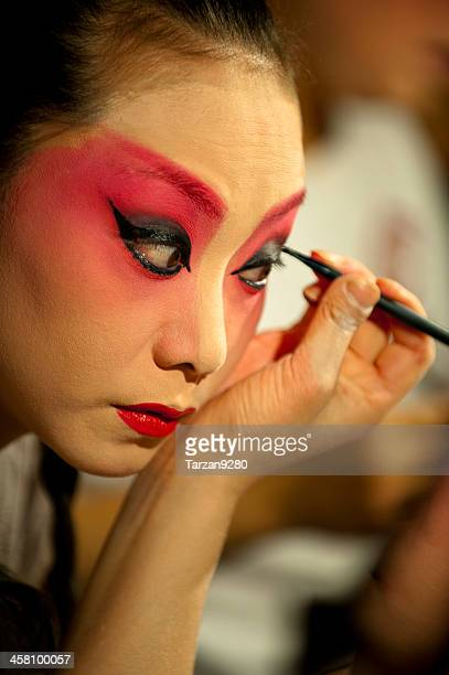 Actress making up at back stage