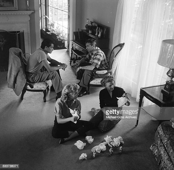Actress Mala Powers and husband Monte Vanton with friends Lori Nelson and Brett Halsey at home in Los AngelesCA