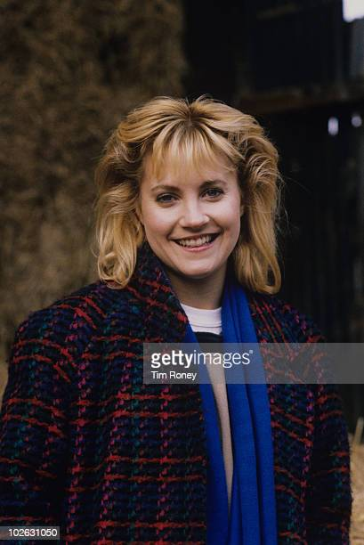 Actress Malandra Burrows on set during filming of British television soap opera Emmerdale Farm in 1989