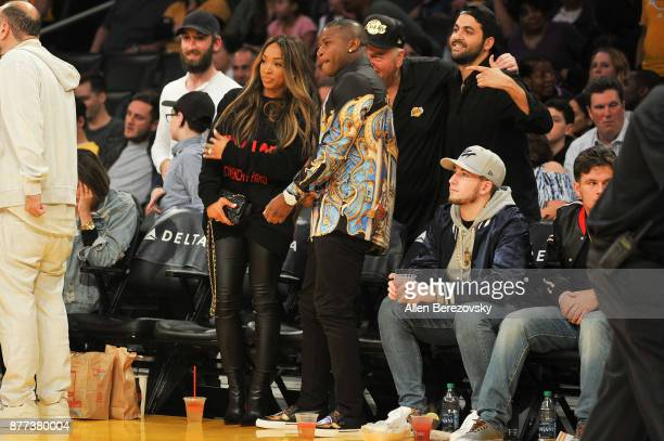 Actress Malika Haqq and rapper OT Genasis attend a basketball game between the Los Angeles Lakers and the Chicago Bulls at Staples Center on November...