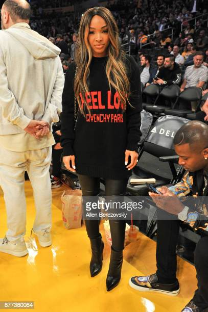 Actress Malika Haqq attends a basketball game between the Los Angeles Lakers and the Chicago Bulls at Staples Center on November 21 2017 in Los...