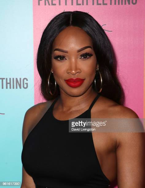 Actress Malika Haqq attends the PrettyLittleThing x Karl Kani event at Nightingale Plaza on May 22 2018 in Los Angeles California