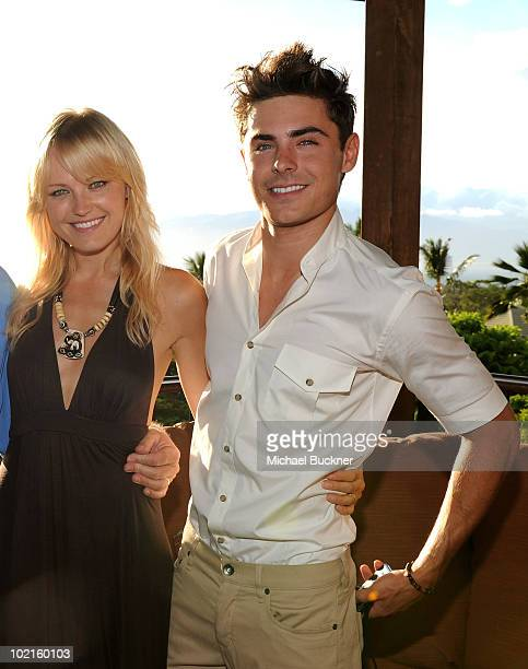 Actress Malin Ackerman and actor Zac Efron attend the opening night reception for the 2010 Maui Film Festival at the Capische on June 16 2010 in...