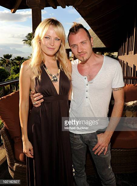 Actress Malin Akerman and Roberto Zincone attend the opening night reception for the 2010 Maui Film Festival at the Capische on June 16 2010 in...