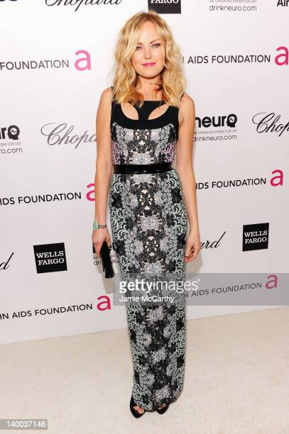 Actress Malin Akerman arrives at the 20th Annual Elton John AIDS Foundation Academy Awards Viewing Party at The City of West Hollywood Park on...