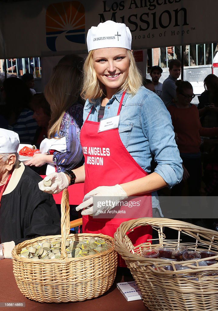 Actress Malin Akerman attends the Los Angeles Mission Thanksgiving Dinner at Los Angeles Mission on November 21, 2012 in Los Angeles, California.
