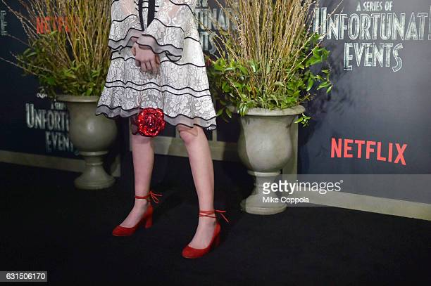 Actress Malina Weissman Fashion Detail at the Lemony Snicket's A Series Of Unfortunate Events Screening at AMC Lincoln Square Theater on January 11...