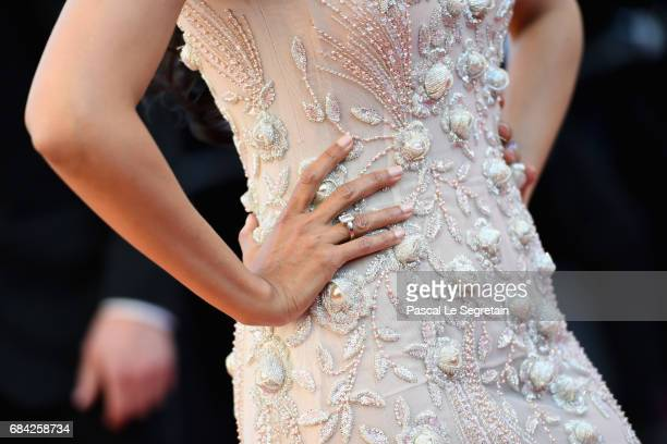 Actress Mallika Sherawat fashion detail attends the 'Ismael's Ghosts ' screening and Opening Gala during the 70th annual Cannes Film Festival at...