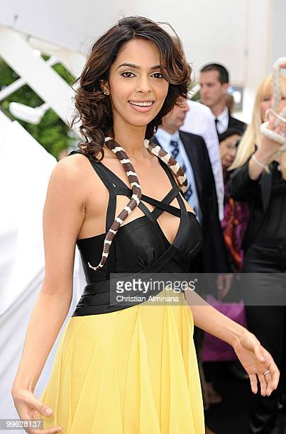 Actress Mallika Sherawat poses with a snake at the 'Hisss' Photocall at the Salon Martha Barriere at Majestic Hotel during the 63rd Annual Cannes...