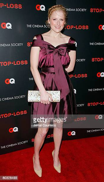 Actress Mamie Gummer attends the New York Premiere screening of StopLoss hosted by The Cinema Society and GQ at the IFC Center on March 20 2008 in...