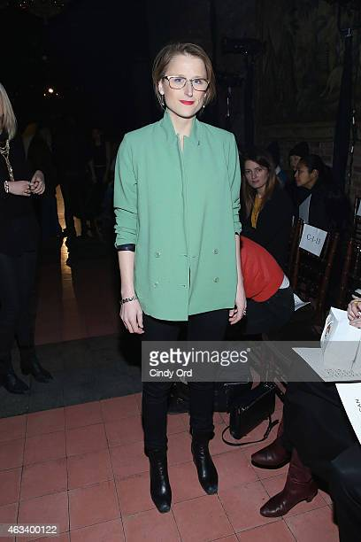 Actress Mamie Gummer attends the Rodebjer fashion show during MercedesBenz Fashion Week Fall 2015 at The Bowery Hotel on February 13 2015 in New York...