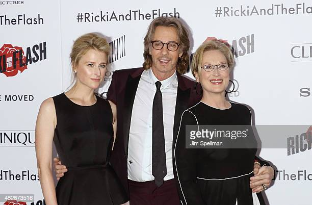 """Actress Mamie Gummer, musician/actor Rick Springfield and actress Meryl Streep attend the """"Ricki And The Flash"""" New York premiere at AMC Lincoln..."""