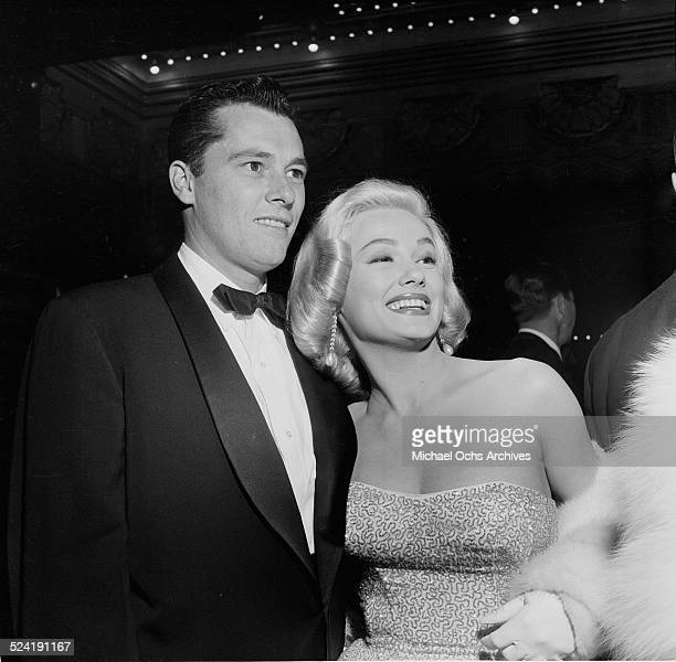 "Actress Mamie Van Doren and Nicky Hilton attend the movie premiere of ""The Glenn Miller Story"" in Los Angeles,CA."