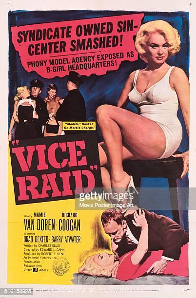 Actress Mamie Van Doren appears on a poster for the movie 'Vice Raid' 1960