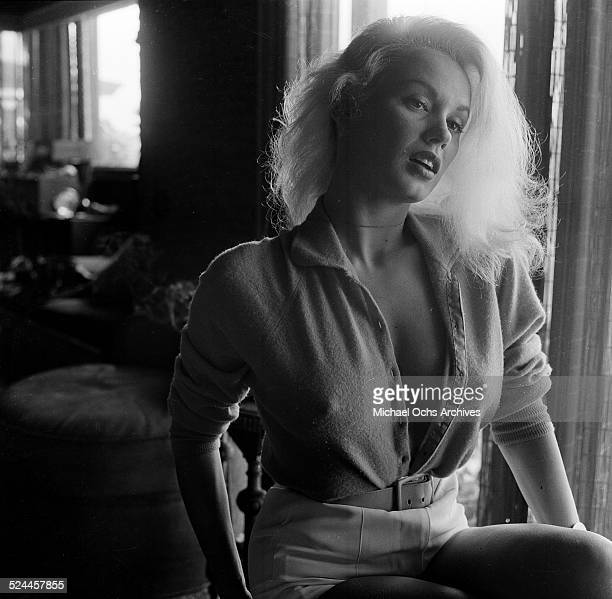 Actress Mamie Van Doren poses at home in Los Angeles,CA.