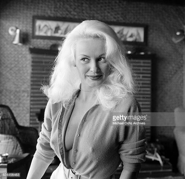 Actress Mamie Van Doren poses at home in Los AngelesCA