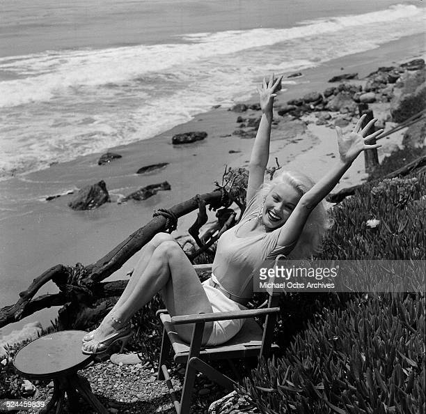 Actress Mamie Van Doren poses at the beach in Los Angeles,CA.