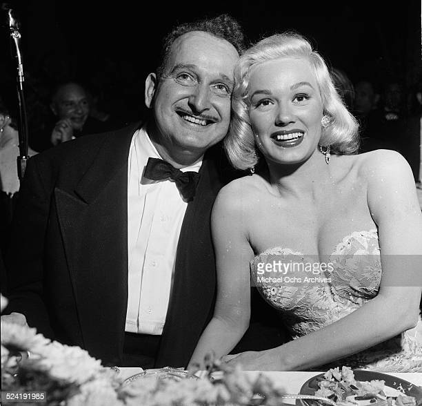Actress Mamie Van Doren poses with friend during the International Press Club Awards in Los AngelesCA