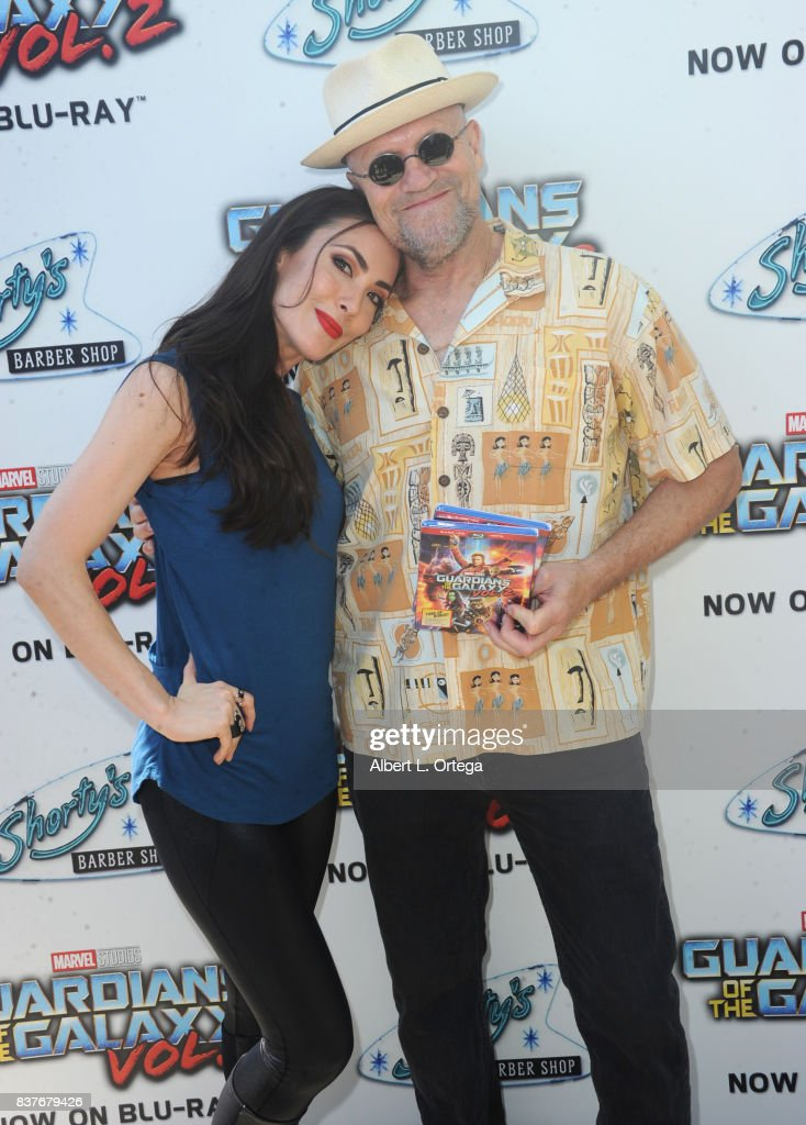 Actress Mandy Amano and Actor Michael Rooker at Disney's Celebration for the Release Of 'Guardians Of The Galaxy Vol. 2' Blu-ray With Michael Rooker held at Shorty's Barber Shop on August 22, 2017 in West Hollywood, California.