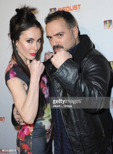 Actress Mandy Amano and director Steve Ayromlooi attend the INFOListcom's PreOscar Soiree and Jeff Gund Birthday Party held at Mondrian Sky Bar on...