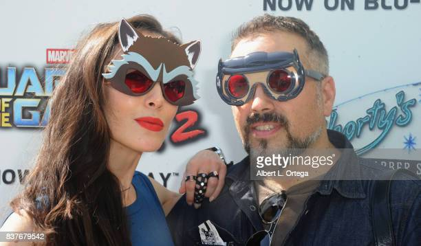 Actress Mandy Amano and director Steven Ayromlooi at Disney's Celebration for the Release Of Guardians Of The Galaxy Vol 2 Bluray With Michael Rooker...