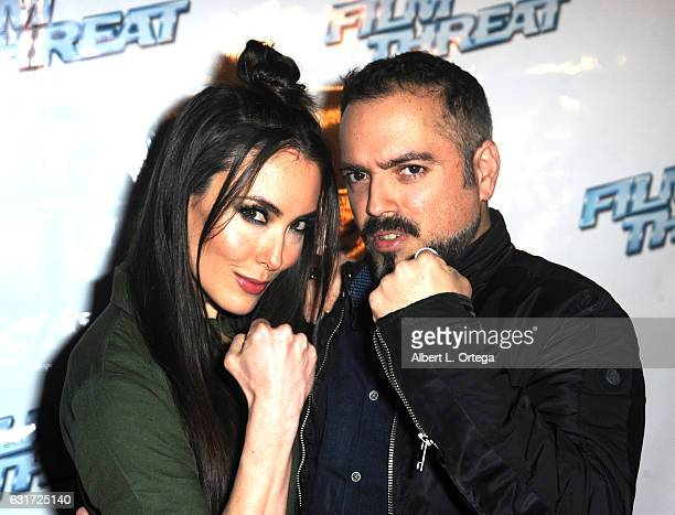 Actress Mandy Amano and director Steven Ayromlooi at the Launch Party For 'Film Threat' Online held at The Berrics on January 14 2017 in Los Angeles...
