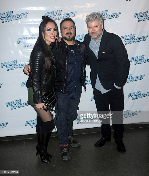 Actress Mandy Amano director Steven Ayromlooi and Film Threat's Chris Gore at the Launch Party For 'Film Threat' Online held at The Berrics on...