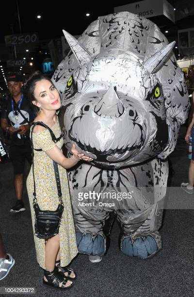 Actress Mandy Amano poses with a Triceratops on Sunday day 4 of 2018 ComicCon International held at the San Diego Convention Center on July 22 2018...