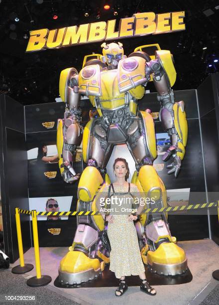 Actress Mandy Amano poses with BubleBee on Sunday day 4 of 2018 ComicCon International held at the San Diego Convention Center on July 22 2018 in San...