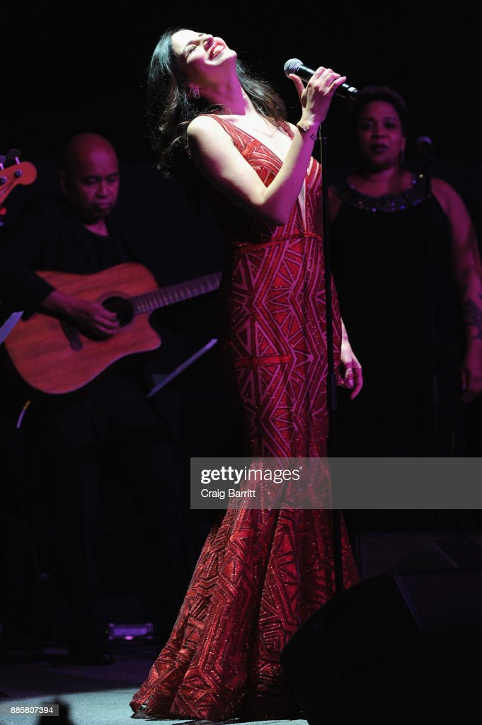 Actress Mandy Gonzalez performs onstage during 'The Bloomberg 50' Celebration at Gotham Hall on December 4, 2017 in New York City.