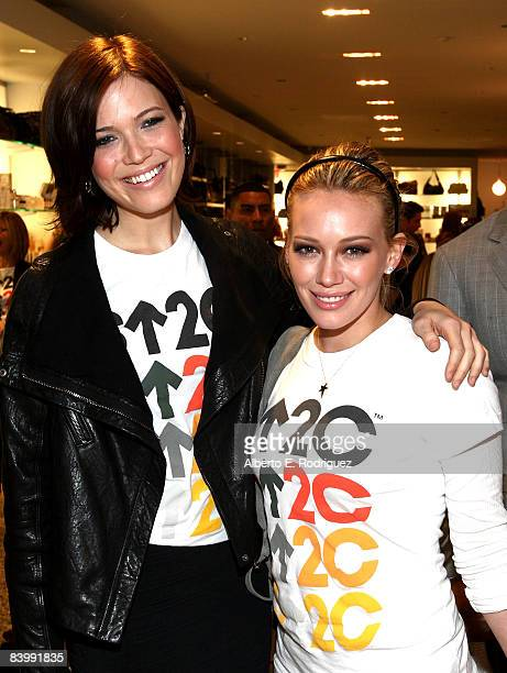Actress Mandy Moore and actress Hilary Duff attend the SU2C merchandise collection launch benefiting Stand Up to Cancer held at Kitson Studio on...