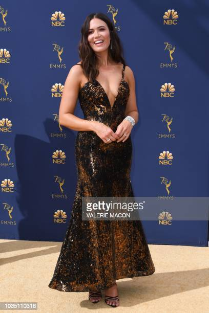 Actress Mandy Moore arrives for the 70th Emmy Awards at the Microsoft Theatre in Los Angeles California on September 17 2018