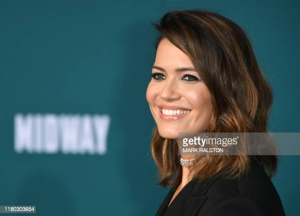 US actress Mandy Moore arrives for the premiere of Lionsgates' Midway at the Regency Village Theatre in Westwood California on November 5 2019