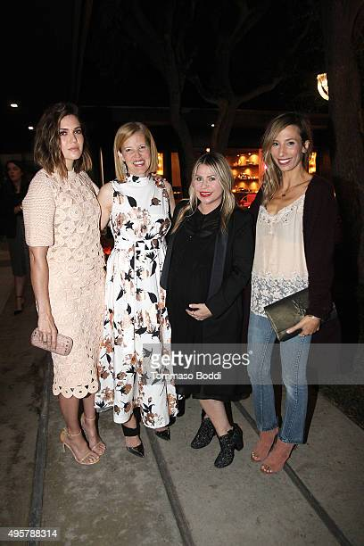 Actress Mandy Moore fashion designer Lela Rose designers Emily Current and Merritt Elliott attend the Lela Rose Los Angeles Dinner on November 4 2015...