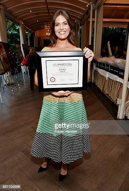 Actress Mandy Moore poses with award attend the 17th annual AFI Awards at Four Seasons Los Angeles at Beverly Hills on January 6 2017 in Los Angeles...