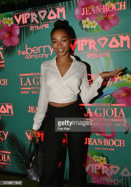 Actress Manon Bresch from Plus Belle La Vie attend the Party at VIP Room SaintTropez on August 17 2018 in SaintTropez France