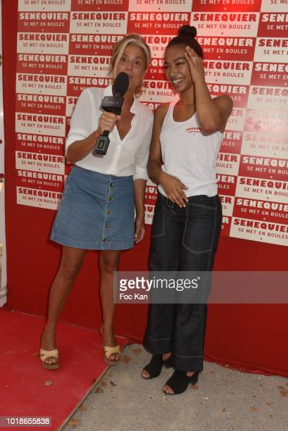 Actress Manon Bresch from TV serial Plus Belle La vie and Agnes Bouquet From Global TV SaintTropez attend the Trophee Senequier 2018 at Place des...