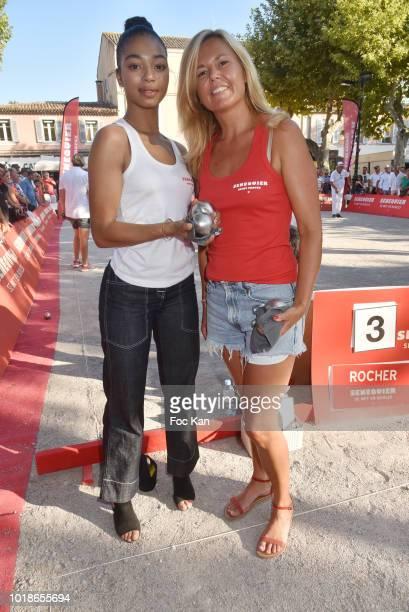 Actress Manon Bresch from TV serial Plus Belle La vie and Ariane de Senneville attend the Trophee Senequier 2018 at Place des Lices SaintTropez On...