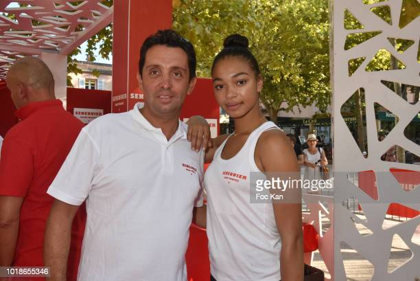 Actress Manon Bresch from TV serial Plus Belle La vie and Chef Philippe Rioufreyt attend the Trophee Senequier 2018 at Place des Lices SaintTropez On...