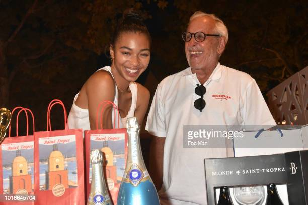 Actress Manon Bresch from TV serial Plus Belle La vie and TV presenter Patrice Laffont attends the Trophee Senequier 2018 at Place des Lices...