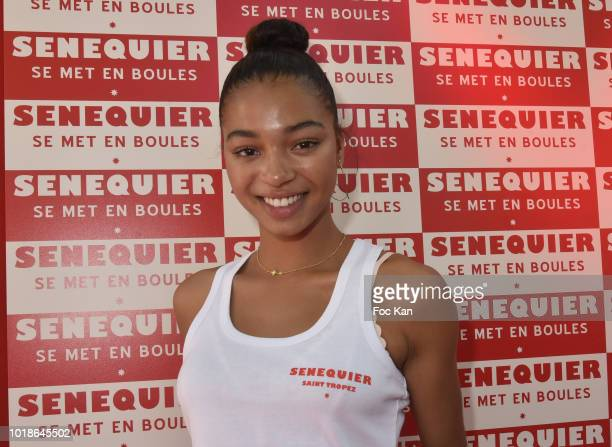 Actress Manon Bresch from TV serial Plus Belle La vie attends the Trophee Senequier 2018 at Place des Lices SaintTropez On French Riviera on August...