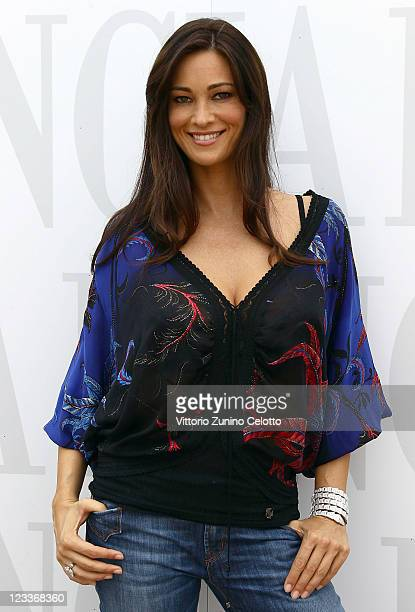 Actress Manuela Arcuri visits the Lancia Cafe during the 68th Venice Film Festival on September 2 2011 in Venice Italy