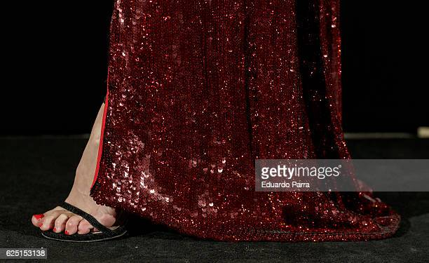 Actress Manuela Velles shoe detail attends the 'Vanity Fair number 100 party' photocall at Real Academia de Bellas Artes de San Fernando on November...