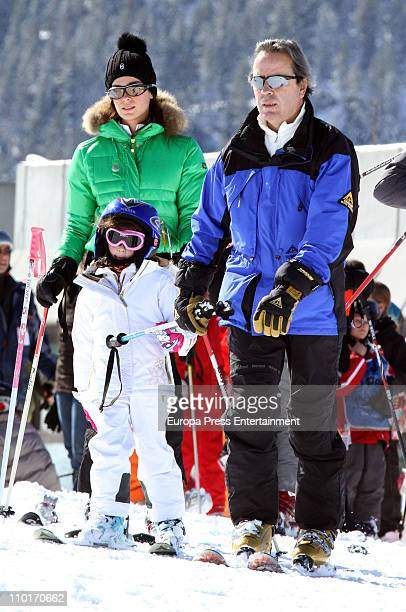 Actress Mar Saura her husband Javier Revuelta and their daughter Claudia Revuelta sighting on March 16 2011 in Baqueira Beret Spain